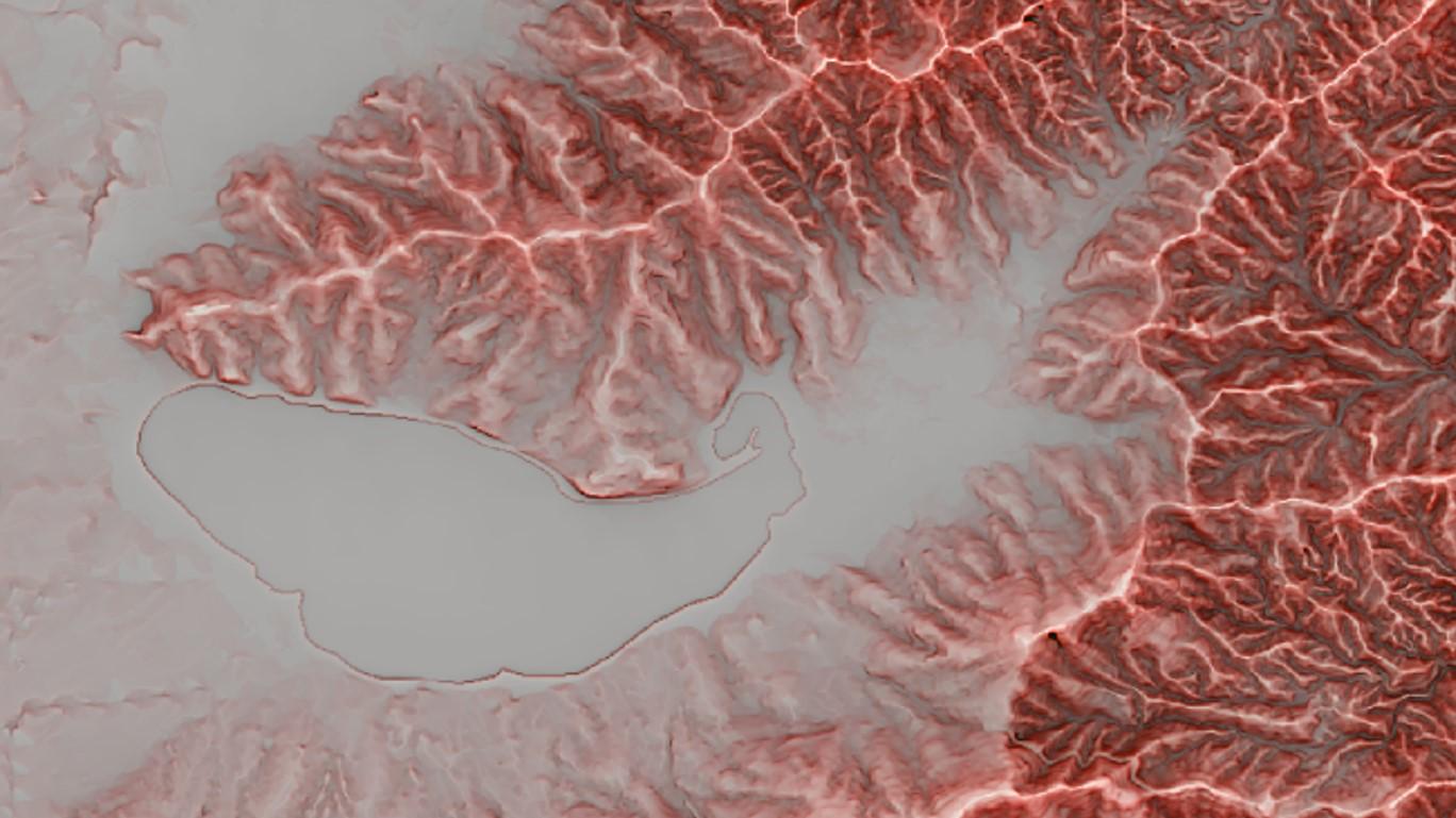 図6 山中湖周辺赤色立体地図